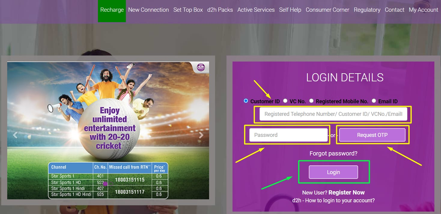 videocon d2h recharge login